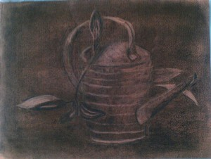 charcoal watering can and plant